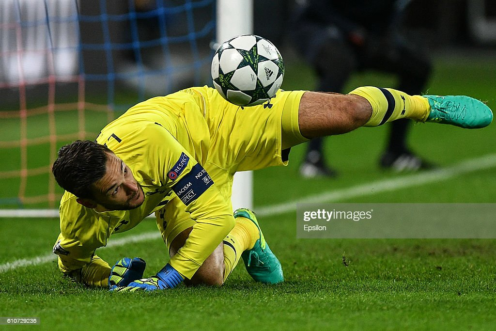 Hugo Lloris of Tottenham Hotspur FC in action during the UEFA Champions League match between PFC CSKA Moskva and Tottenham Hotspur FC at the CSKA Arena stadium on September 27, 2016 in Moscow.