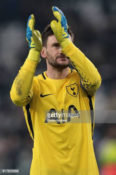 Hugo Lloris of Tottenham Hotspur greets the fans at the end of the UEFA Champions League Round of 16 First Leg match between Juventus and Tottenham...