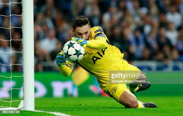 Hugo Lloris of Tottenham Hotspur in action during the UEFA Champions League group H match between Real Madrid and Tottenham Hotspur at Estadio...