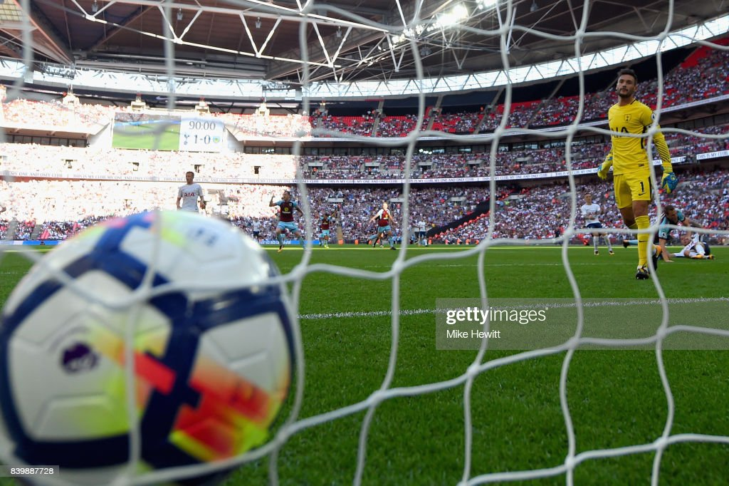 Hugo Lloris of Tottenham Hotspur looks on after Burnley score their first goal during the Premier League match between Tottenham Hotspur and Burnley at Wembley Stadium on August 27, 2017 in London, England.