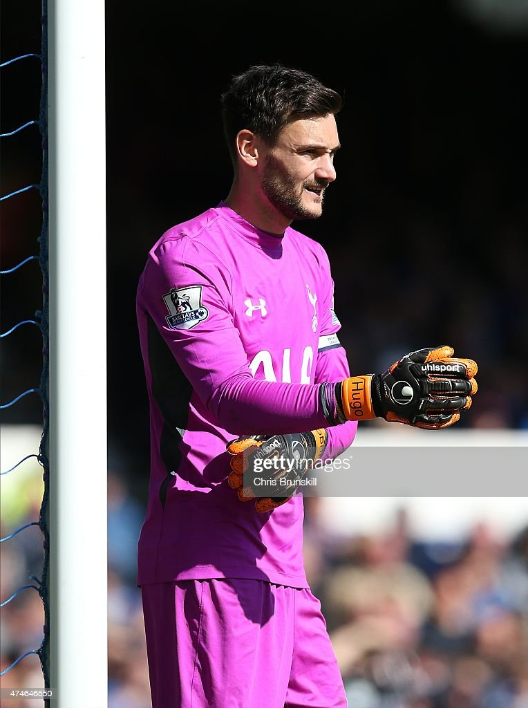Hugo Lloris of Tottenham Hotspur looks on during the Barclays Premier League match between Everton and Tottenham Hotspur at Goodison Park on May 24, 2015 in Liverpool, England.