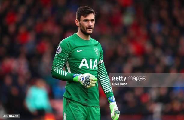 Hugo Lloris of Tottenham Hotspur looks on during the Premier League match between AFC Bournemouth and Tottenham Hotspur at Vitality Stadium on March...