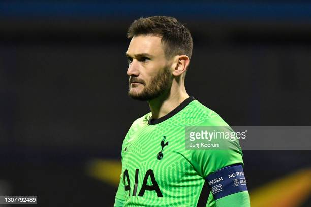 Hugo Lloris of Tottenham Hotspur looks on during the UEFA Europa League Round of 16 Second Leg match between Dinamo Zagreb and Tottenham Hotspur at...