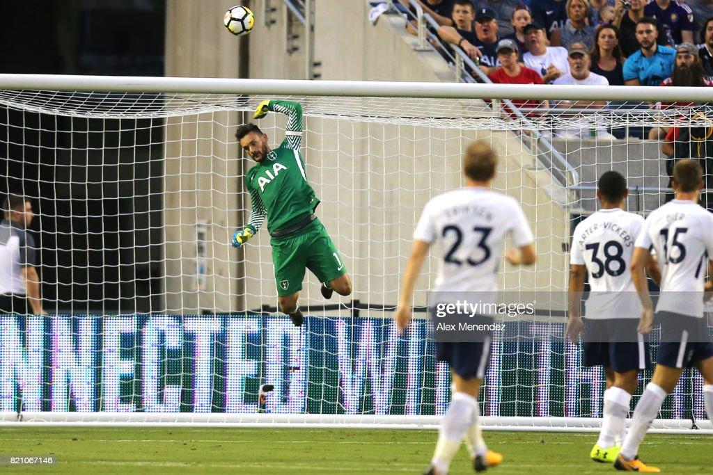 Hugo Lloris #1 of Tottenham Hotspur makes a leaping save during the International Champions Cup 2017 match between Paris Saint-Germain and Tottenham Hotspur at Camping World Stadium on July 22, 2017 in Orlando, Florida.