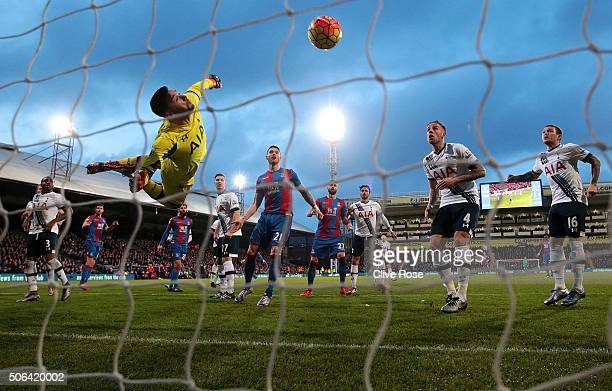 Hugo Lloris of Tottenham Hotspur makes a save during the Barclays Premier League match between Crystal Palace and Tottenham Hotspur at Selhurst Park...
