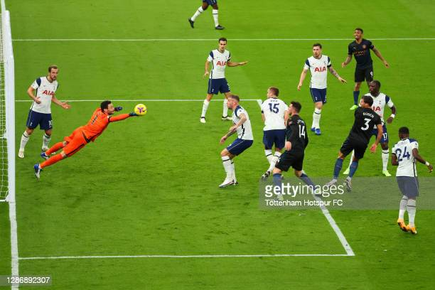 Hugo Lloris of Tottenham Hotspur makes a save during the Premier League match between Tottenham Hotspur and Manchester City at Tottenham Hotspur...