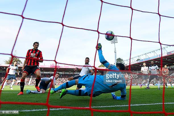 Hugo Lloris of Tottenham Hotspur makes a save during the Premier League match between AFC Bournemouth and Tottenham Hotspur at Vitality Stadium on...