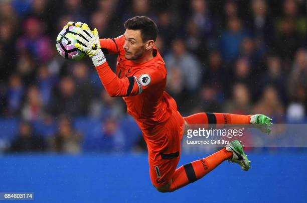 Hugo Lloris of Tottenham Hotspur makes a save during the Premier League match between Leicester City and Tottenham Hotspur at The King Power Stadium...