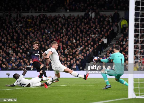 Hugo Lloris of Tottenham Hotspur makes a save from Timo Werner of RB Leipzig during the UEFA Champions League round of 16 first leg match between...