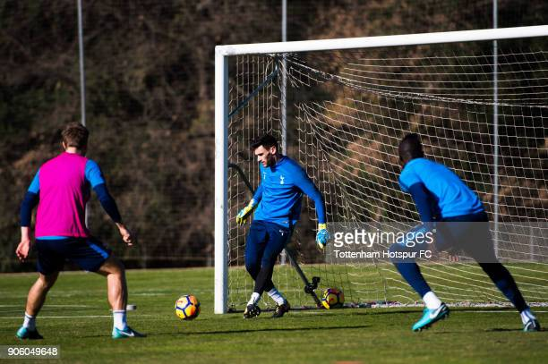 Hugo Lloris of Tottenham Hotspur plays the ball during a training session during day three of the Tottenham Hotspur midseason training camp at High...