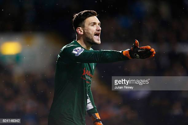 Hugo Lloris of Tottenham Hotspur reacts during the Barclays Premier League match between Tottenham Hotspur and West Bromwich Albion at White Hart...