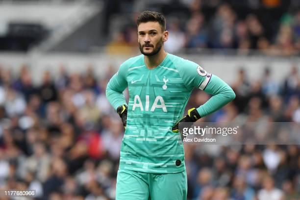 Hugo Lloris of Tottenham Hotspur reacts during the Premier League match between Tottenham Hotspur and Southampton FC at Tottenham Hotspur Stadium on...