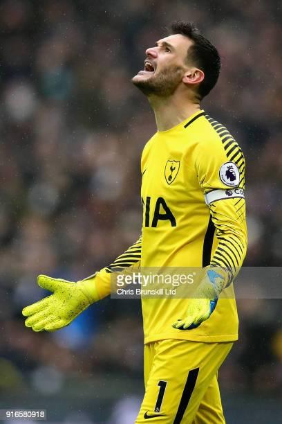 Hugo Lloris of Tottenham Hotspur reacts during the Premier League match between Tottenham Hotspur and Arsenal at Wembley Stadium on February 10 2018...
