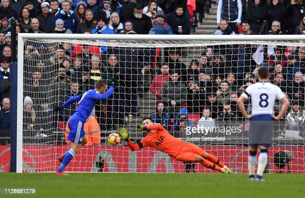 Hugo Lloris of Tottenham Hotspur saves a penalty from Jamie Vardy of Leicester City during the Premier League match between Tottenham Hotspur and...