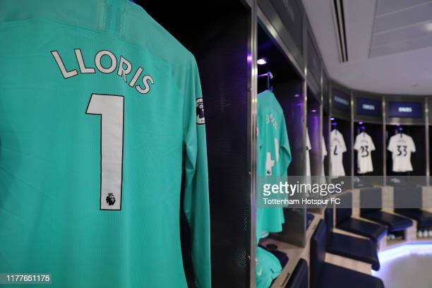 Hugo Lloris of Tottenham Hotspur shirt is seen hanging in the changing room prior to the Premier League match between Tottenham Hotspur and...