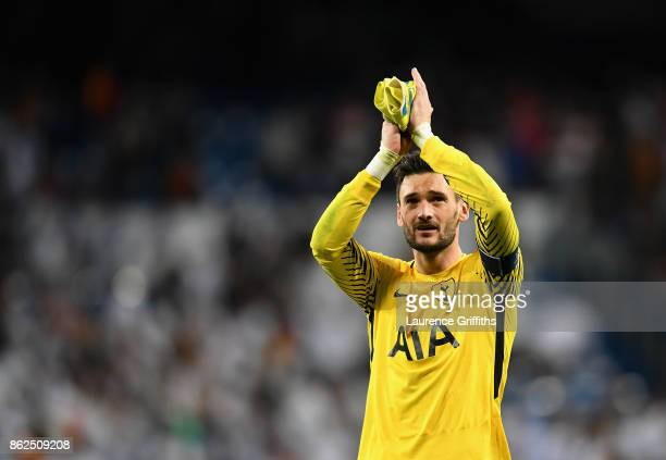 Hugo Lloris of Tottenham Hotspur shows appreciation after the UEFA Champions League group H match between Real Madrid and Tottenham Hotspur at...