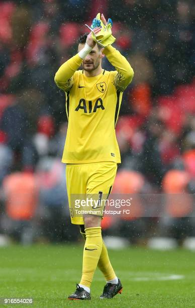 Hugo Lloris of Tottenham Hotspur shows appreciation to the fans following the Premier League match between Tottenham Hotspur and Arsenal at Wembley...