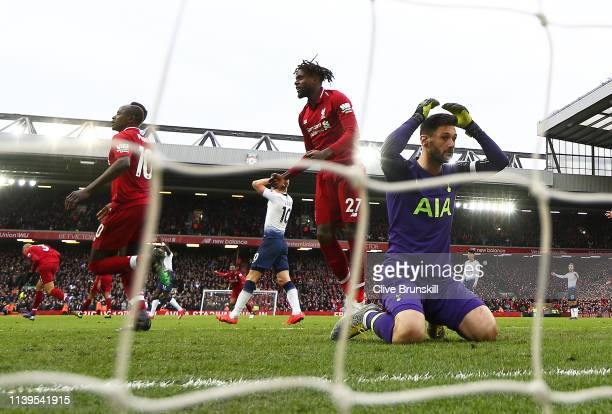 Hugo Lloris of Tottenham Hotspur shows his dejection after team mate Toby Alderweireld scores an own goal giving a last minute victory to Liverpool...