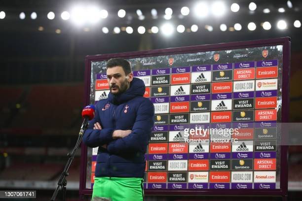 Hugo Lloris of Tottenham Hotspur speaks during a TV Interview after the Premier League match between Arsenal and Tottenham Hotspur at Emirates...