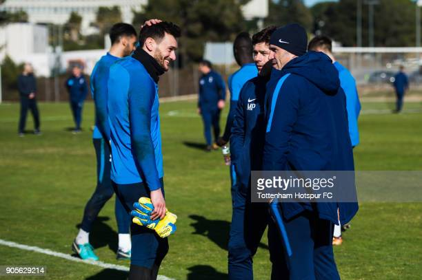 Hugo Lloris of Tottenham Hotspur speaks with Manager Mauricio Pochettino and Goalkeeping Coach Toni Jimenez during a training session during day two...