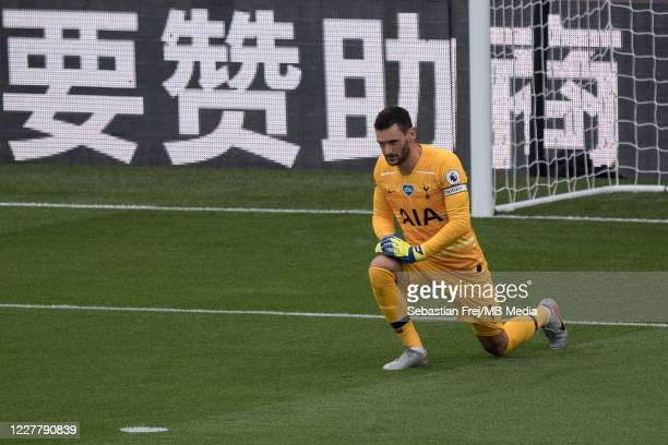 Hugo Lloris of Tottenham Hotspur take a knee during the Premier League match between Crystal Palace and Tottenham Hotspur at Selhurst Park on July 26...