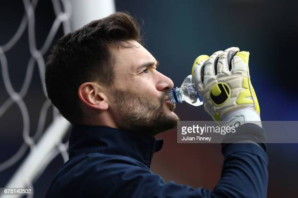 Hugo Lloris of Tottenham Hotspur takes a drink prior to the Premier League match between Tottenham Hotspur and Arsenal at White Hart Lane on April 30...