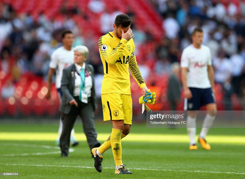 Hugo Lloris of Tottenham Hotspur walks off dejected after the Premier League match between Tottenham Hotspur and Burnley at Wembley Stadium on August 27, 2017 in London, England.