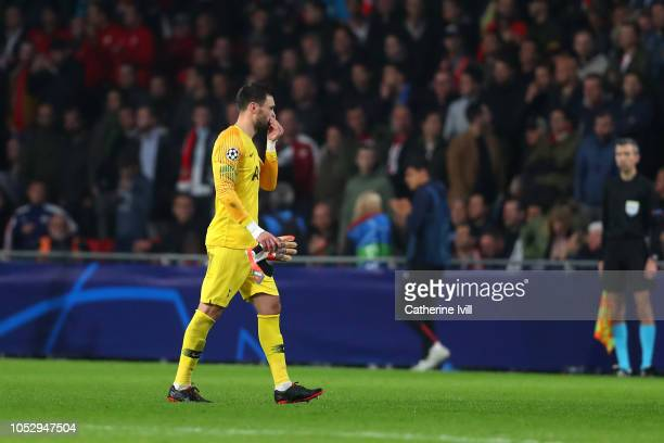 Hugo Lloris of Tottenham Hotspur walks off the pitch after receiving a red card from referee Slavko Vincic during the Group B match of the UEFA...