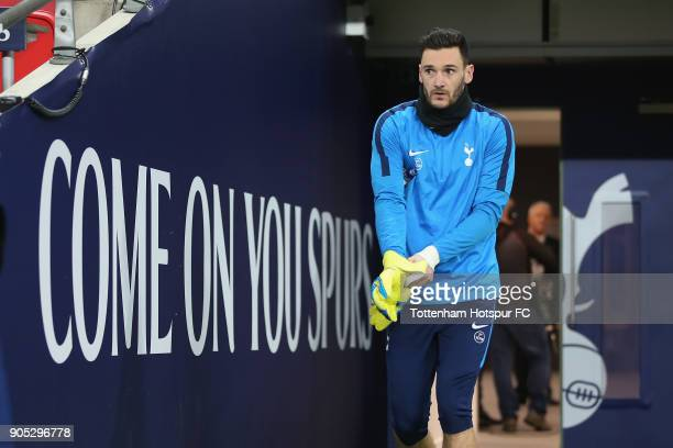 Hugo Lloris of Tottenham Hotspur walks to the pitch for the warm up prior to the Premier League match between Tottenham Hotspur and Everton at...