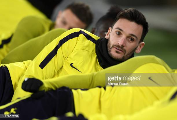 Hugo Lloris of Tottenham Hotspur warms up during the Tottenham Hotspur FC Training Session ahead of there UEFA Champions League Round of 16 match...