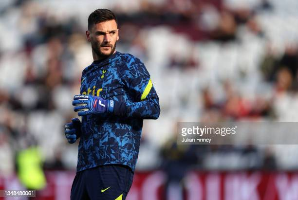 Hugo Lloris of Tottenham Hotspur warms up prior to the Premier League match between West Ham United and Tottenham Hotspur at London Stadium on...