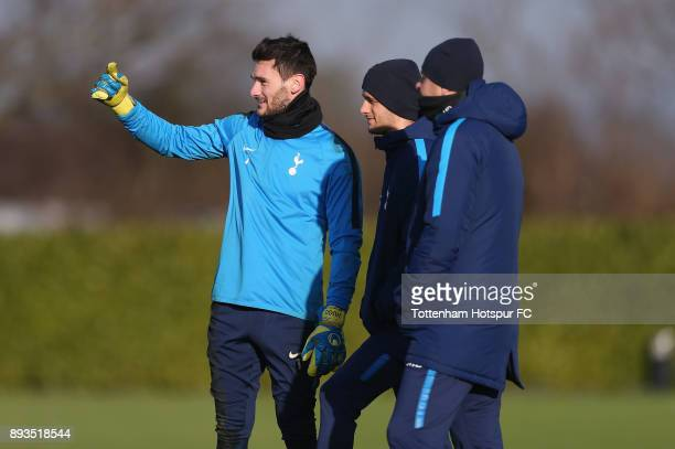 Hugo Lloris of Tottenham Hotspur with head coach Miguel D'Agostino during the Tottenham Hotspur training session at Tottenham Hotspur Training Centre...