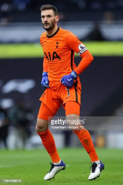 Hugo Lloris of Tottenham in action during the Premier League match between Tottenham Hotspur and Leeds United at Tottenham Hotspur Stadium on January...