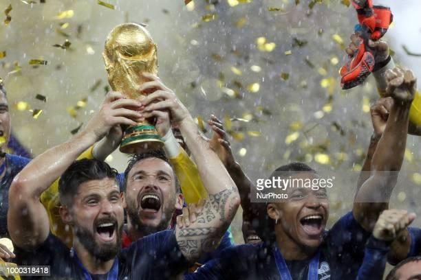 Hugo Lloris, Olivier Giroud, Kylian Mbappe, Olivier Giroud, Antoine Griezmann after the Russia 2018 World Cup final football match between France and...