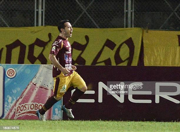 Hugo Lusardi of Tolima celebrates a goal against Huila during a match between Deportes Tolima and Atletico Huila as part of the Liga Postobon II 2013...