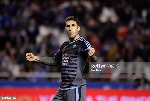Hugo Mallo defender of Celta de Vigo celebrates a victory during the La Liga Santander match between Deportivo de La Coruña and Celta de Vigo at...