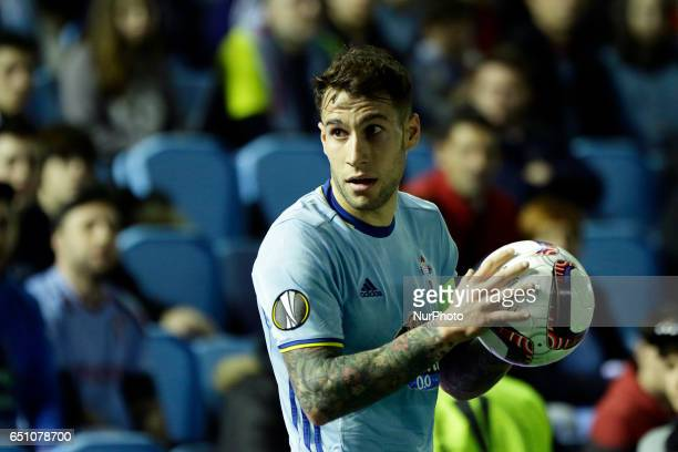 Hugo Mallo defender of Celta de Vigo during the UEFA Europa League Round of 8 first leg match between Celta de Vigo and Krasnodar FC at Balaidos...
