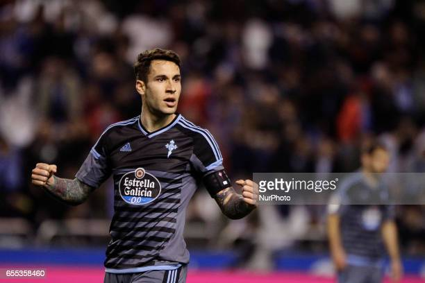 Hugo Mallo defender of Celta de Vigo reacts during the La Liga Santander match between Deportivo de La Coruña and Celta de Vigo at Riazor Stadium on...