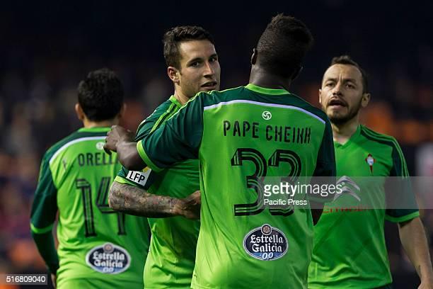 Hugo Mallo of Celta de Vigo and Pape Cheikk during La Liga match between Valencia CF and Celta de Vigo at Mestalla Stadium Celta Vigo beats Valencia...