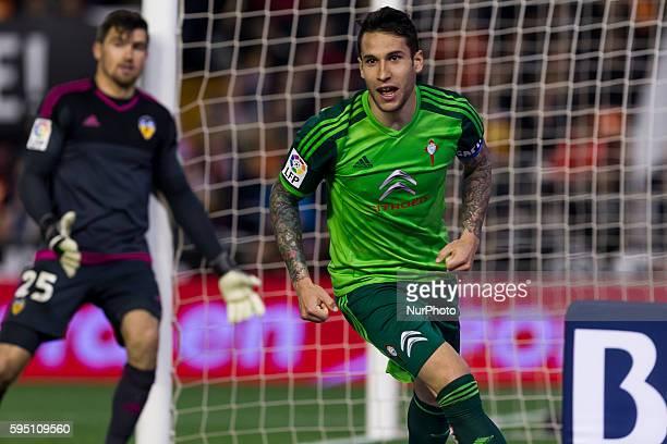 Hugo Mallo of Celta de Vigo during La Liga match between Valencia CF and Celta de Vigo at Mestalla Stadium in Valencia on March 20 2016
