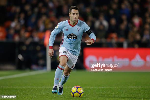 Hugo Mallo of Celta de Vigo during the Spanish Primera Division match between Valencia v Celta de Vigo at the Estadio de Mestalla on December 9 2017...