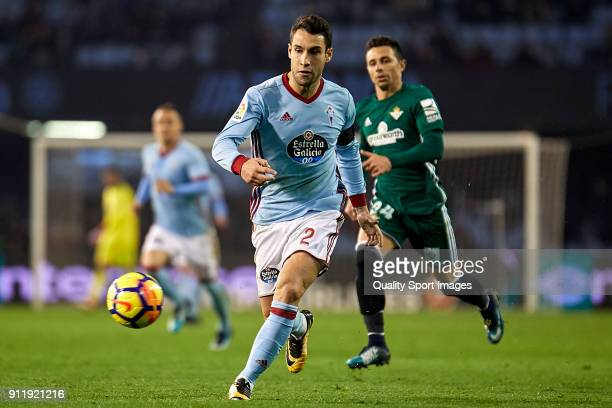 Hugo Mallo of Celta de Vigo in action during the La Liga match between Celta de Vigo and Real Betis at Balaidos Stadium on January 29 2018 in Vigo...