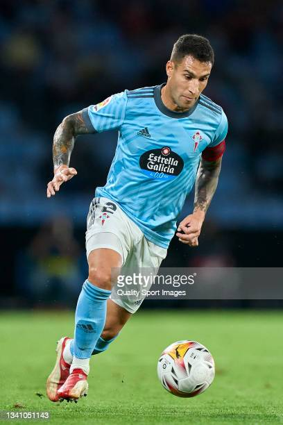 Hugo Mallo of Celta de Vigo in action during the La Liga Santander match between RC Celta de Vigo and Cadiz CF at Abanca Balaidos Stadium on...