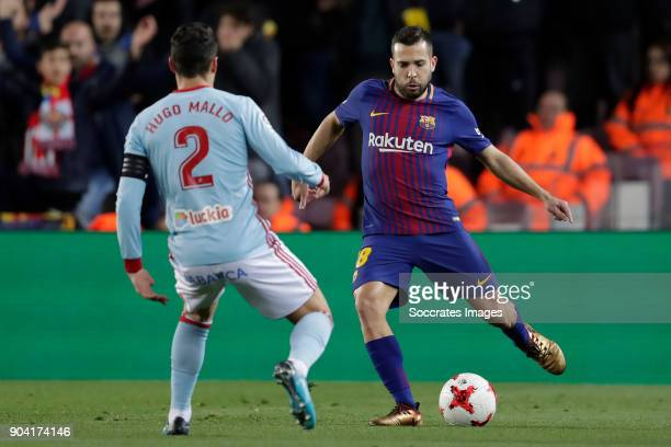 Hugo Mallo of Celta de Vigo Jordi Alba of FC Barcelona during the Spanish Copa del Rey match between FC Barcelona v Celta de Vigo at the Camp Nou on...