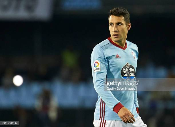 Hugo Mallo of Celta de Vigo looks on during the Copa del Rey second leg match between Celta de Vigo and SD Eibar at Estadio Balaidos on November 28...