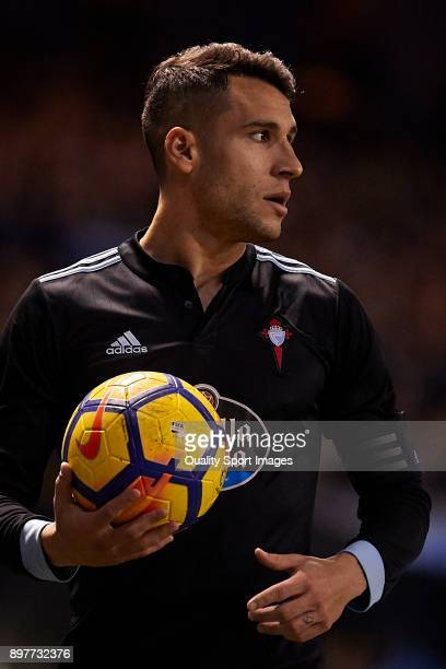 Hugo Mallo of Celta de Vigo looks on during the La Liga match between Deportivo La Coruna and Celta de Vigo at Abanca Riazor Stadium on December 23...