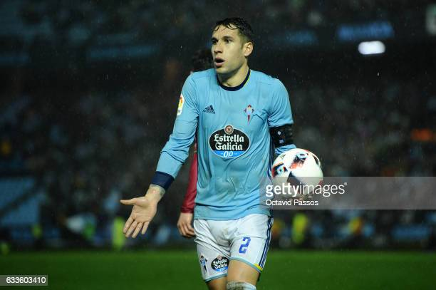 Hugo Mallo of Celta de Vigo reacts during the Copa del Rey semifinal first leg match between Real Club Celta de Vigo and Deportivo Alaves at...