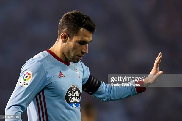 Hugo Mallo of Celta de Vigo reacts during the La Liga match between Celta de Vigo and Real Betis at Balaidos Stadium on January 29 2018 in Vigo Spain