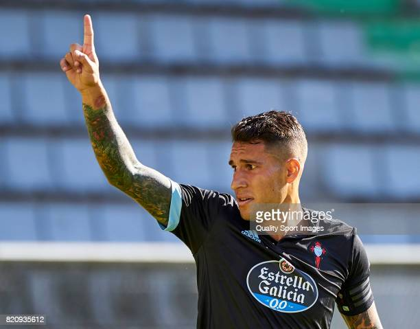 Hugo Mallo of Celta de Vigo reacts during the preseason friendly match between Celta de Vigo and Sporting de Gijon at A Malata Stadium on July 22...