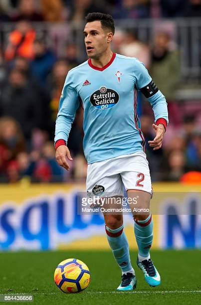 Hugo Mallo of Celta in action during the La Liga match between Barcelona and Celta de Vigo at Camp Nou on December 2 2017 in Barcelona Spain